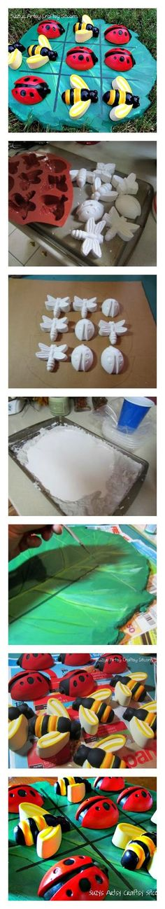 DIY Tic Tac Toe Game made from plaster.  Easy fully illustrated tutorial! Cute summer craft