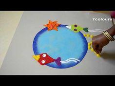 pongal kites rangoli design /pongal kolam design /bhogi kundalu/7colours - YouTube Simple Rangoli Designs Images, Rangoli Designs Flower, Rangoli Patterns, Colorful Rangoli Designs, Rangoli Designs Diwali, Diwali Rangoli, Flower Rangoli, Kolam Designs, Simple Designs