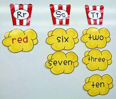 This word wall of sight words has a popcorn theme because these words 'pop' up so often in our reading. ....so stinkin' cute!