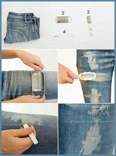 How to Make Vintage Looking Jeans(Diy Ropa Ideas) Zerfetzte Jeans, Old Jeans, Outfit Jeans, Diy Pantalon, Diy Clothes Tutorial, Diy Tutorial, Sewing Projects, Diy Projects, Denim Outfits