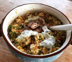 Couscous salade met paprika, doperwten, kip en tzaziki. Recept komt uit #30minutes van @jamieoliver #chicascooking