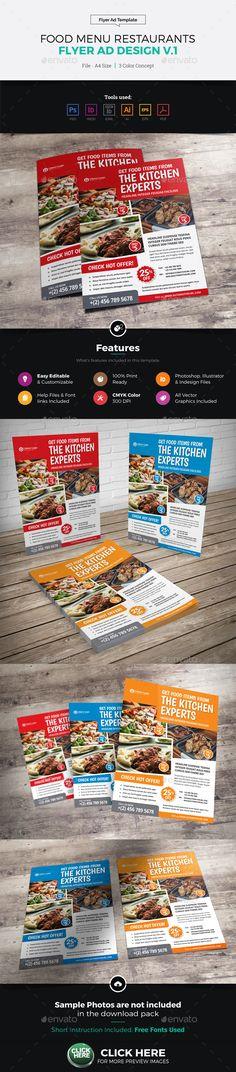 Food Menu Restaurants Flyer Ad Design @EnvatoMarket #graphicriver #portfolio #envato #flyer #brochure #catalog #booklet #banner #wordpress #proposal #magazine #print #design #template Enjoy !!