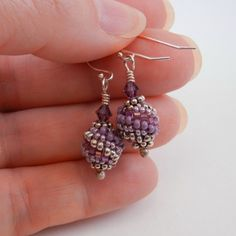Beaded Bead Jewelry - earrings - seed bead woven peyote stitch
