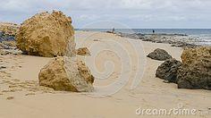 View on the beach at the Atlantic Ocean on Porto Santo Island near Madeira Island, Portugal.