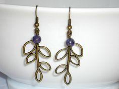 Leaf earrings Antique Bronze leaves Spring earring by mcutecharms, $12.00