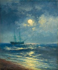 1887 Ivan Aivazovsky (Russian Romantic, 1817-1900) ~ Sea View by Moonlight
