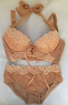 47ba0dc2762 Beige Brown with Cream Lace Swarovski Crystal Bra and Panty Set 32B