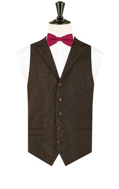 Harris Tweed Green Barleycorn Tweed Vest with Notch Lapel