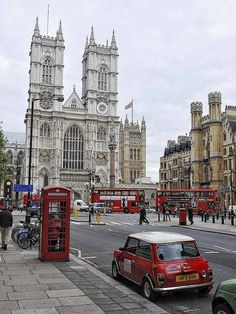 ~ Westminster Abbey ~ London, England ~ in red - a phone box, a letter box, double decker buses, and a Mini Cooper ~