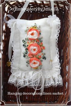Shabby chic gift idea on holiday hanging wall Pillow fabric ornament Girl room embroidered Door knob hanger Door plaque gift Sachet romantic http://etsy.me/2COx5az  #homedecor #white #valentinesday #orange  #shabbychicgift #chicgiftideaon #EmbroideryByJuliaUA
