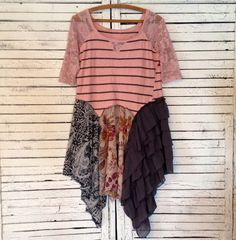 Pink & Gray Upcycled Tunic S/M Upcycled Clothing by AnikaDesigns