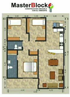 Plano de departamento de 90 metros cuadrados con 3 for Diseno de apartamentos de 90 metros cuadrados