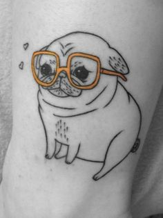 Pug tattoo  Cute and funny...It'd be even better if he looked happy.