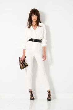#TamaraMellon #Leather #Jumpsuit #shoe #Clutch #Fall2014