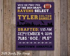 NFL Baltimore Ravens Birth Announcement by FaithFamilyFunDesign, $8.00