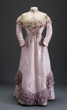 Lilac printed silk moiré and lace dress, Hungarian, circa 1900.