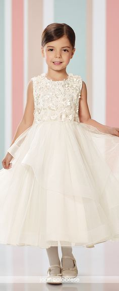 Joan Calabrese for Mon Cheri - Fall 2016 - Style No. 216303 -sleeveless satin and tulle tea-length flower girl dress with floral bodice