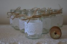 Rustic Wedding Glass Jars Rustic Vintage Candles Scalloped White Lace Twine x 10