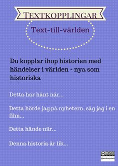 Text-till-världen Swedish Language, Classroom Tools, First Language, Aktiv, Teaching Materials, Primary School, Teaching English, Creative Writing, Good To Know