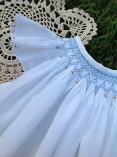 The sweetest white angel sleeve hand smocked by SweetBabyDigs, $55.00