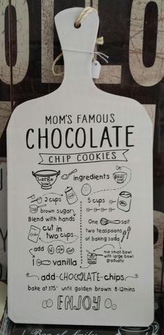 Soort broodplank met tekst chocola 17 x 37 cm.