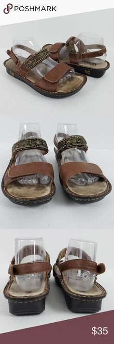 cb7825cc0ccb Alegria Sandals Adjustable Metal Embellished Brown Alegria wedge sandals  style VER-832 are 3 way