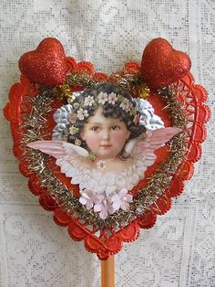 Vintage Style Valentine's Die Cut Scrap Angel Feather Tree Topper | eBay