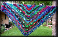 Virus Shawl made in Lion Brand Landscapes..