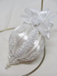 Handmade Christmas Tree Ornament White/White Pearl Trim & Satin Ribbon Bows   | eBay