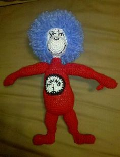 Thing 1 was made for my partner in a Dr. Seuss swap on craftster.org, he was crocheted without a pattern and based off of a stuffed animal I have.