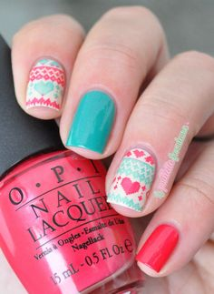 Winter Sweater ~ using OPI 'My Vampire is Buff', 'A Definite Moust-Have' (pink) and Essie 'Naughty Nautical' (green) ~ stamping image from MoYou London Festive Collection plate ~ by La Paillette Frondeuse
