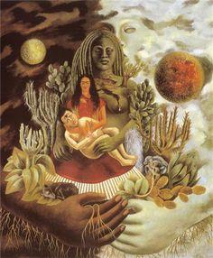 Autorretrato en la Frontera Entre El Abrazo de Amor de el Universo, la Tierra (México), Yo, Diego y el Señor Xólotl, 1949 - Frida Kahlo