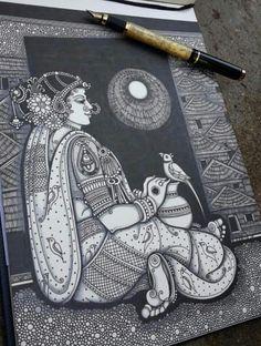 By pooja pande Art Drawings Beautiful, Dark Art Drawings, Art Drawings Sketches Simple, Mandala Art Lesson, Mandala Artwork, Madhubani Art, Madhubani Painting, Arte Krishna, Abstract Pencil Drawings