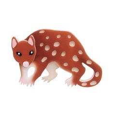 "Erstwilder Limited Edition Spotty the Quoll Brooch. ""Can one remain cute whilst also being carnivorous? Our mighty marsupial Spotty likes to think so. Round Gift Boxes, Resin Jewelry, Jewellery, My Collection, Animal Jewelry, Plexus Products, Makers Mark, Color Patterns, Brooch Pin"