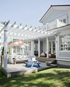 Trellis, pergola, they all stem from the same architectural idea. Lose the deck, pour a few steps down to flagstone and grass patio under a pergola. I want this smooth transition from it to the yard. Pergola Designs, Patio Design, House Design, Terrace Design, Terrace Decor, Cottage Design, Terrace Garden, Floor Design, Garden Design