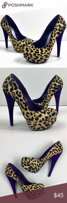 Bebe Leopard Print Pony Hair Pumps Women's 7.5 excellent condition, only minor signs of wear on the soles. Pony Hair upper with fun leopard print and faux suede purple heels for a splash of color. Retails for $120 bebe Shoes Heels