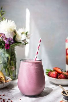 Can't stop craving this smoothie! Simple, Easy, and Quick Strawberry Pink Peppercorn Protein Smoothie.