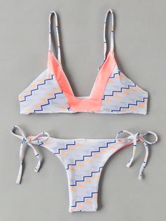 095a0522b3394 Shop Geometric Print Contrast V Cut Bikini Set online. SHEIN offers  Geometric Print Contrast V Cut Bikini Set   more to fit your fashionable  needs.