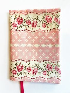 Fabric Paperback Book Cover Pink Flower Book by momssewingroom