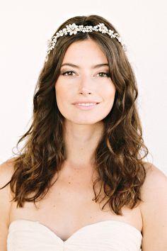 VICTORIA Headband -  crown, halo, floral, bridal, rhinestone, crystal, veil, wedding, tiara, headpiece. $298.00, via Etsy.