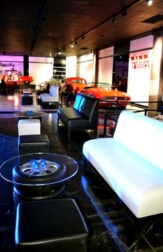 Tire Coffee Table at Turbo event Designer8* Event Furniture Rental designer8furniturerental.com
