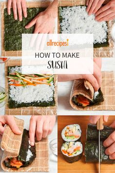 With just a little practice, you can make sushi rolls at home that are as dazzling to look at as they are delicious to eat. Easy Sushi Rolls, Homemade Sushi Rolls, Making Sushi Rolls, Diy Sushi, Sushi Party, Sushi Sushi, Salmon Sushi, Vegetarian Sushi Rolls, Sushi Roll Recipes