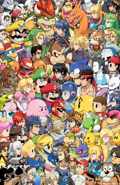 """mikeluckas: """" all dem smash bruddahs. yes it's everyone. Plus cut characters and alts. The miis are Sakurai, Reggie, and Iwata. I'm never drawing 80 characters in one image ever again _(:3 」∠)_ """" I added in Young Link! I can't believe I forgot him...."""