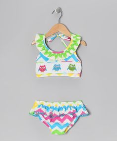 Take a look at this Rainbow Zigzag Owl Smocked Bikini - Infant, Toddler & Girls by Marjorie's Daughter on #zulily today!