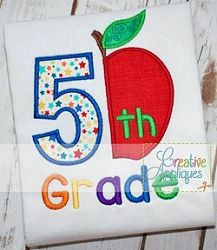 5th Grade Apple Applique - 4 Sizes! | What's New | Machine Embroidery Designs | SWAKembroidery.com Creative Appliques