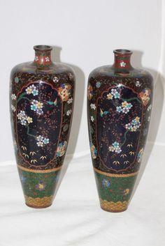 Pair of Japanese Meiji Period Cloisonne Vases | eBay