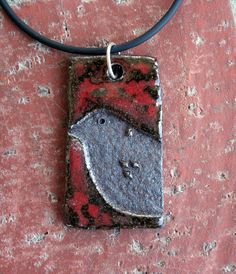 Copper Red and Brown Rustic Bird Stoneware Pendant by muddyfingers