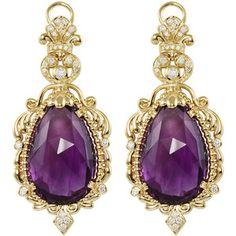 Baroque Amethyst & Diamond Drop Earrings by Lagos at Neiman Marcus. Purple Jewelry, Amethyst Jewelry, Amethyst Earrings, Beaded Earrings, Bridal Earrings, Gold Earrings, Gold Jewelry, Diamond Drop Earrings, Diamond Studs