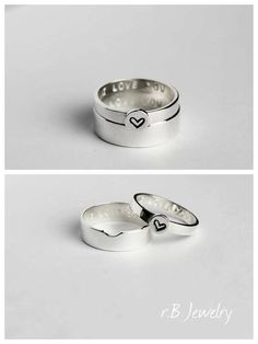 Promise Rings For Couples, Couple Ring Set, Matching Promise Ring ✤ IMPORTANT By purchasing an item from our store, you are agreeing to our shop policies. Please make sure to read them to avoid any confusion. You can find them here: https://www.etsy.com/shop/jewelryrb#policies And if you have any questions please do not hesitate to contact us. ✤ SPECIFICATIONS • Made of sterling silver. • His width band is 5 mm, her width band is 3 mm. • The price $60 is for TWO rings. • Comes in a box r...