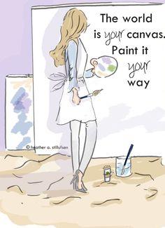 Kunst voor vrouwen - wereld Is uw Canvas - Wall Art - Digital Art Print - Art Inspriration - Wall-Art kamer voor vrouwen